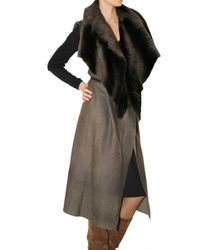 No Editions - Brown Long Multi Layer Shearling Vest - Lyst