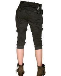 Novemb3r - Black Gabardine and Jersey Shorts On Trousers - Lyst