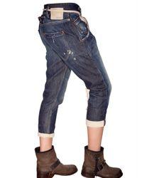 Novemb3r | Blue Cropped Denim Jeans | Lyst