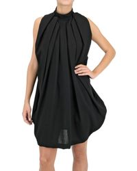 Paolo Errico | Black Gathered Double Wool Crepe Dress | Lyst
