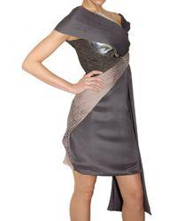 Peter Pilotto - Gray Shawl Multi Fabric Dress - Lyst