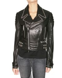 Philipp Plein | Black Swarovski Bambi Leather Jacket | Lyst