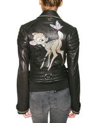Philipp Plein - Black Swarovski Bambi Leather Jacket - Lyst