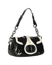 Prada | Black and Ivory Patent Leather Turnlock Shoulder Bag | Lyst