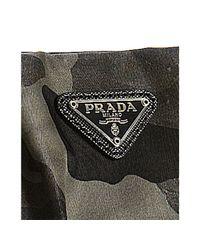 Prada - Gray Smoke Camouflage Canvas Pleated Zip Wristlet - Lyst