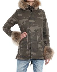 PRPS - Gray Fur Army Parka Coat - Lyst
