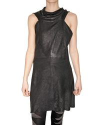 Rick Owens | Black Blistered Nappa Leather Dress | Lyst