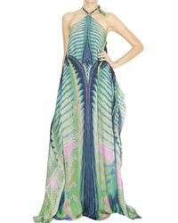 Roberto Cavalli | Blue Acquarius Print Long Silk Chiffon Dress | Lyst
