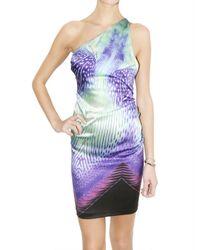 Roberto Cavalli | Blue Acquarius Print Stretch Satin Dress | Lyst