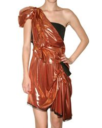 ROKSANDA | Metallic Liquid Bronze Drape Dress | Lyst