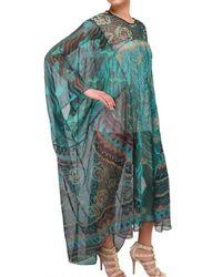 Zandra Rhodes - Green Chiffon Handprinted Kaftan Dress - Lyst