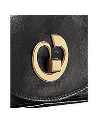 Nada Sawaya - Black Leather Messenger Flap Front Bag - Lyst