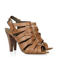 DKNY | Brown Janelle Multi-strap Leather Sandals | Lyst