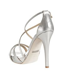 Badgley Mischka | Metallic Silver Leather Fierce Strappy Sandals | Lyst