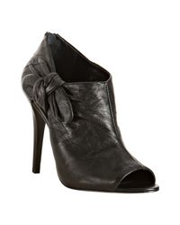 BCBGMAXAZRIA | Black Leather Iris Bow Detail Booties | Lyst