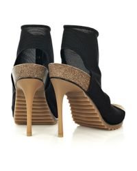 Stella McCartney | Black Stretch Thong Platform Sandals | Lyst