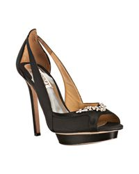 Badgley Mischka | Black Jeweled Satin Foxy Peep Toe Platform Pumps | Lyst