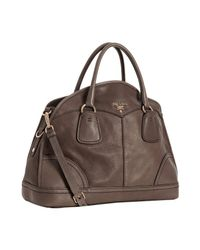 Prada | Brown Black Deerskin Large Bauletto Bowling Bag | Lyst