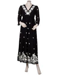 Leaves Of Grass - Black Arabella Full Length Embroidery Kaftan - Lyst