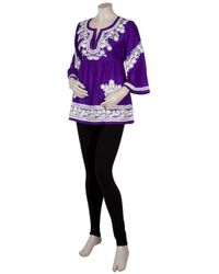 Leaves Of Grass - Purple Udolfo Embroidered Silk Top - Lyst