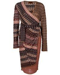 Missoni | Multicolor Belted Crochet-knit Dress | Lyst