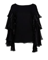 Thomas Wylde | Black Embellished Silk Top | Lyst
