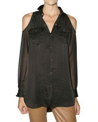 American Retro | Black Cut Out Chiffon and Satin Shirt | Lyst