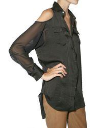 American Retro - Black Cut Out Chiffon and Satin Shirt - Lyst