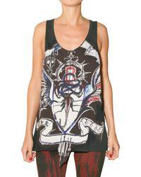 Balmain | Black Printed Patch Jersey Tank Top | Lyst