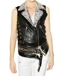 Balmain | Black Studded Leather Vest | Lyst