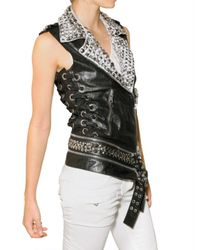 Balmain | Black Studded Leather Vest | Lyst