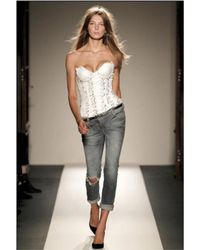 Balmain - White Leather Bustier Top - Lyst