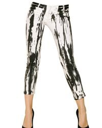 Balmain - White Ink-stained Low-rise Skinny Jeans - Lyst