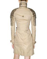 Burberry Prorsum | Natural Studded Gabardine Trench Coat | Lyst