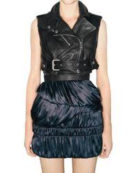 Burberry Prorsum | Black Cropped Leather Biker Vest | Lyst