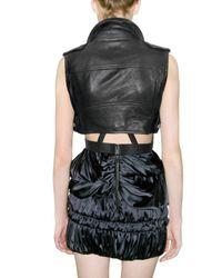 Burberry Prorsum - Black Cropped Leather Biker Vest - Lyst