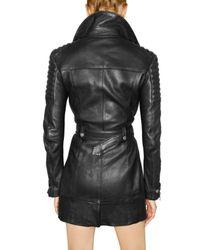 Burberry Prorsum - Black Long Biker Leather Jacket - Lyst