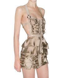 Burberry Prorsum - Metallic Silk Satin Chiffon and Leather Dress - Lyst