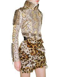 Burberry Prorsum - Natural Studded Python Biker Leather Jacket - Lyst