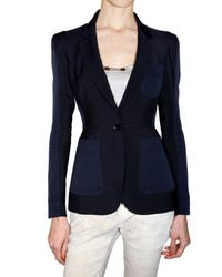 Burberry Prorsum | Blue Micro Structure Viscose Panel Jacket | Lyst