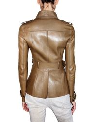 Burberry Prorsum - Brown Belted and Bonded Leather Jacket - Lyst