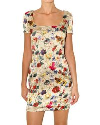 Dolce & Gabbana | Multicolor Flower Print Stretch Satin Dress | Lyst