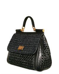 Dolce & Gabbana - Black Woven Raffia Miss Sicily Top Handle - Lyst