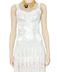 Dolce & Gabbana - White Stretch Satin Lace Bustier Top - Lyst