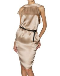 DSquared² - Natural Belted Silk Satin Dress - Lyst