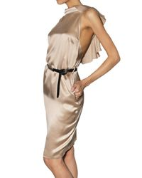 DSquared² | Natural Belted Silk Satin Dress | Lyst
