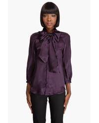 DSquared² | Purple Scarf Tie Silk Blouse | Lyst
