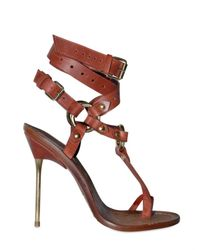 Emilio Pucci | Brown 120mm Criss Cross Ankle Thong Sandals | Lyst
