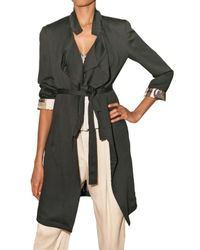Etro | Black Crinkled Viscose Trench Coat | Lyst