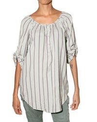 Etro | Gray Striped Silk Voile Shirt | Lyst